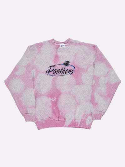 Tie-Dye Carolina Panthers NFL Sweatshirt Pink/Grey/Blue Size Large
