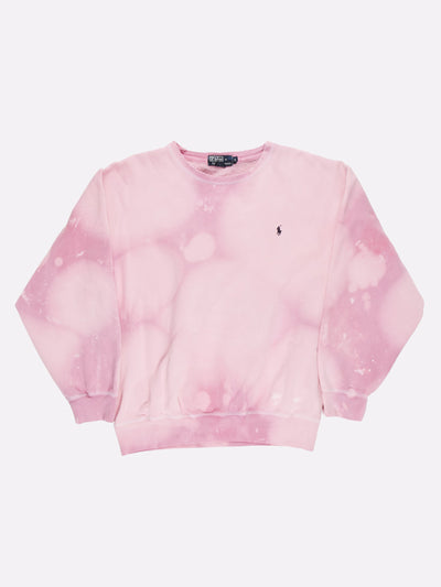 Ralph Lauren Bleach Effect Sweatshirt Pink/Lilac Size Large