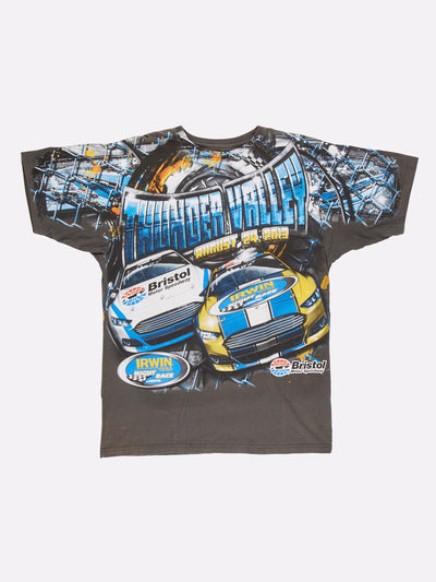 Nascar Thunder Valley T-Shirt Black/Yellow/Blue Size Large