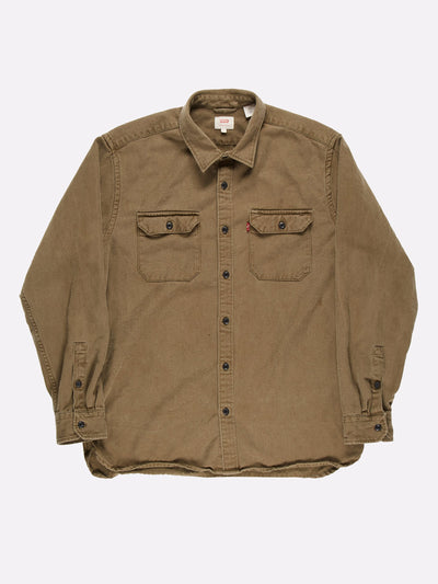 Levi's Soft Denim Shirt Khaki Green Size Large
