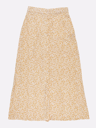 Vintage Floral Maxi Skirt Yellow/White Size XS