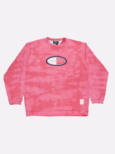 Tommy Hilfiger Bleach Effect Sweatshirt Pink/Navy/White Size Large