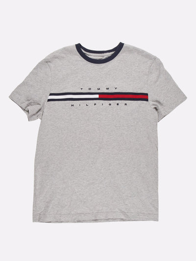 Tommy Hilfiger T-Shirt Grey/Navy/Red Size Small
