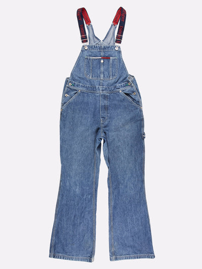 Tommy Hilfiger Denim Bootcut Dungarees Blue/Red Size Medium