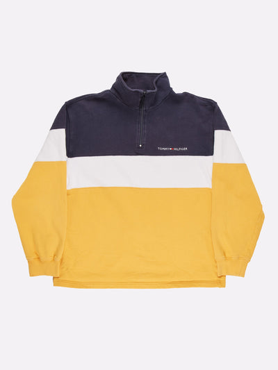 Tommy Hilfiger 1/4 Zip Sweatshirt Yellow/White/Navy Size Medium