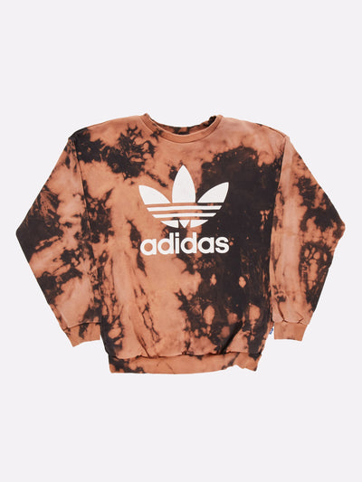 Adidas Bleach Effect Sweatshirt Black/Orange Size XS