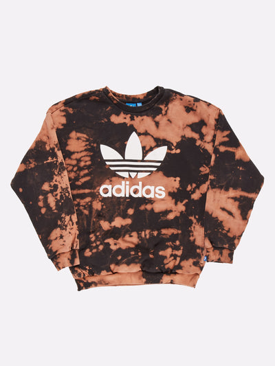 Adidas Bleach Effect Sweatshirt Orange/Black Size Small