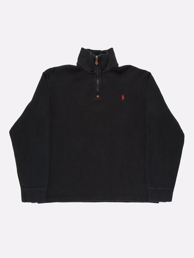 Ralph Lauren 1/4 Zip Knit Black Size Large