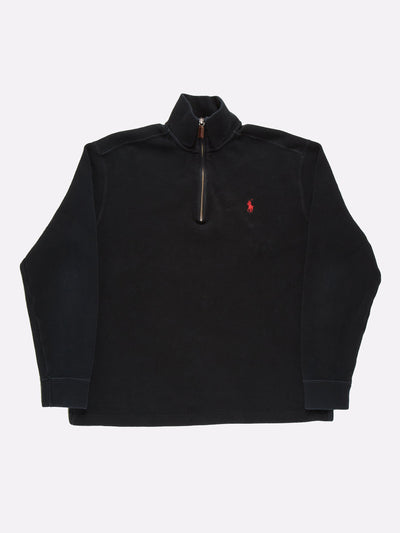 Ralph Lauren 1/4 Zip Knit Black Size Medium