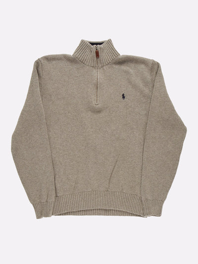 Ralph Lauren 1/4 Zip Knit Grey Size Medium