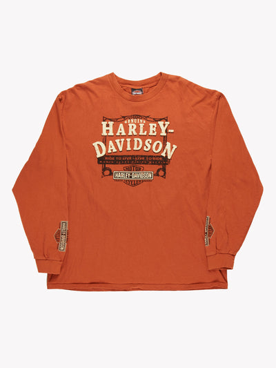 Harley Davidson Long Sleeve T-Shirt Orange Size XXL