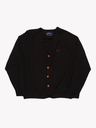 Fred Perry Knit Cardigan Black Size Medium