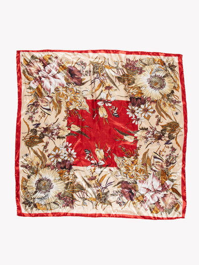 Vintage Patterned Silk Scarf Cream/Red/Purple
