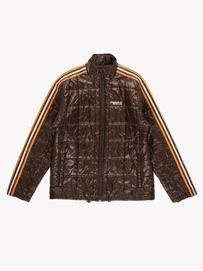Adidas Original Sport Puffer Jacket Brown/Orange/White Size Large