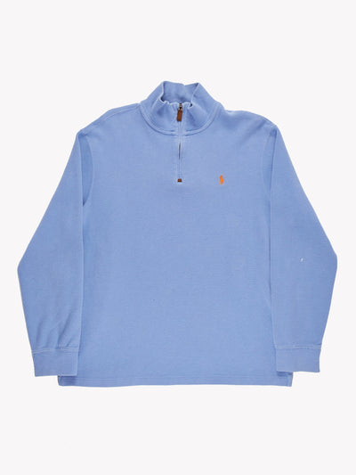 Ralph Lauren 1/4 Zip Knit Blue Size Large