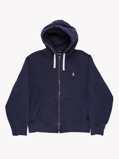Ralph Lauren Zip Thru Hoodie Blue/Yellow Size Large