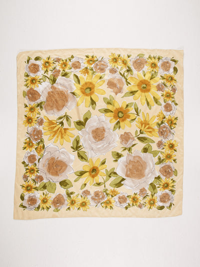 Vintage Floral  Scarf Yellow/Green