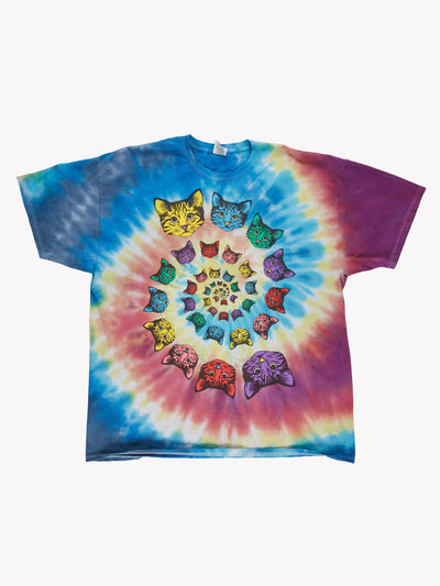 Vintage Tie Dye Cat T-Shirt Multicolour Size XXL