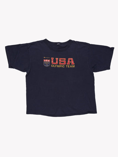 Champion USA Olympic Team T-Shirt Navy Blue/Red/Gold Size XL