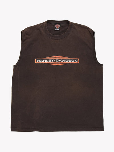 Harley Davidson Sleeveless T-Shirt Black/Orange Size XL