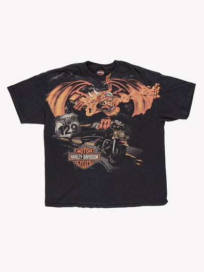 Harley Davidson Dragon T-Shirt Black/Orange Size XL