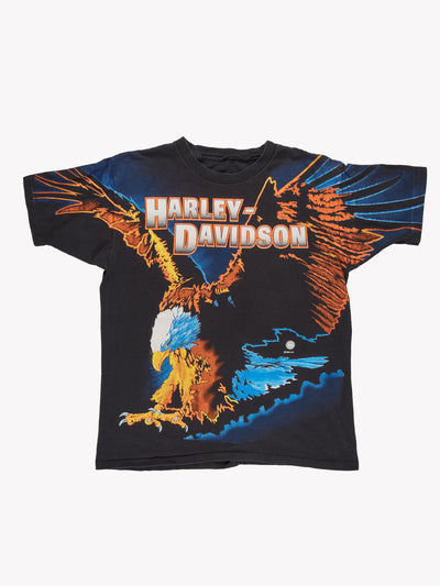 Harley Davidson 1995 Eagle Print T-Shirt Black/Orange/Blue Size XL
