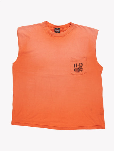 Harley Davidson Sleeveless T-Shirt Orange Size XXL