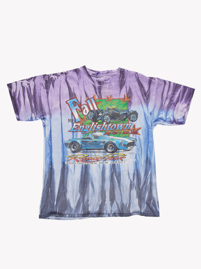Vintage Tie Dye Car T-Shirt Purple/Blue Size Large