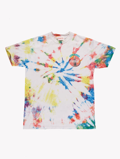 Coca Cola Tie Dye T-Shirt White/Yellow/Pink Size XL
