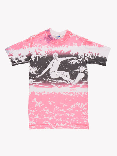 Vintage Surfing T-Shirt White/Pink/Black Size Small