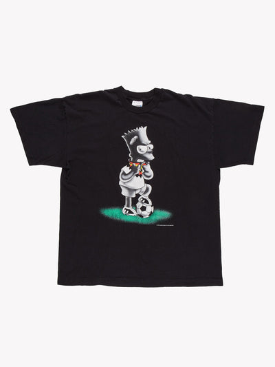 The Simpsons Bart Football T-Shirt Black/Grey/Green Size XL