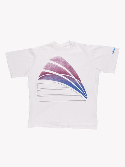Adidas T-Shirt White/Purple Size Large