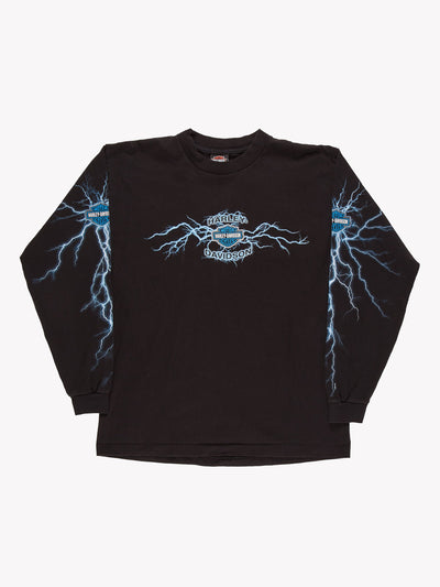 Harley Davidson Long Sleeve T-Shirt Black/Blue Size Large