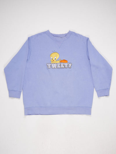 Looney Tunes Tweety Pie 90's character embroidered Sweatshirt Purple/Yellow Size XL