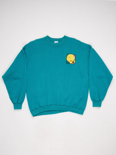 Looney Tunes Tweety Pie 90's character embroidered Sweatshirt Green/Yellow Size XXL
