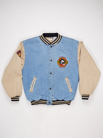 Mickey Mouse American Original Embroidered Character Bomber Jacket Blue/Stone/Red/Yellow Size Large