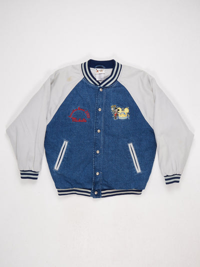 Walt Disney World Embroidered Character Bomber Jacket Blue/Stone/Red/Yellow Size Small