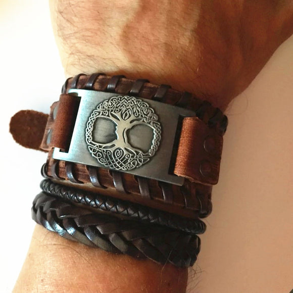 Viking Tree of Life Leather Bracelet