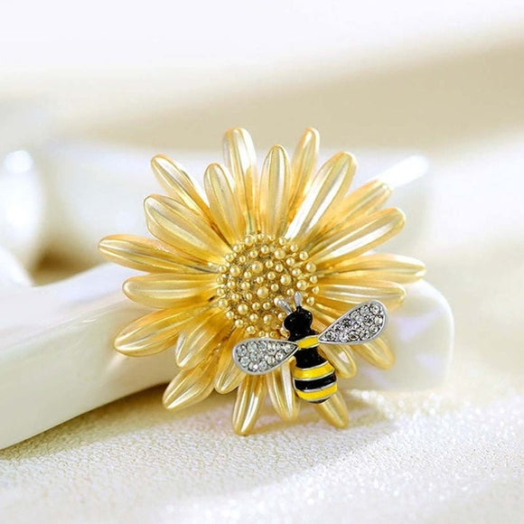 Bee on Flower Pin - 2 Styles