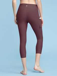 QB3001 WOMEN'S POCKET CAPRI-LEGGINS WITH HIDDEN POCKET