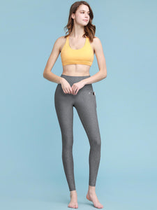 QB3003 Women's Yoga Pants Body Contouring High Waisted Athletic Performance Leggings with Pocket