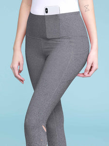QB3006 Women's Yoga Pants Tummy Compression Slimming Barre Mesh Capri Leggings with Pocket and Inner Pocket