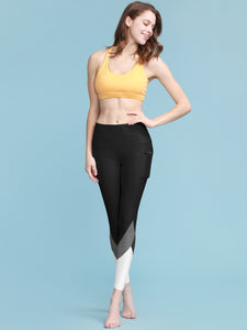 QB3007 Women's Yoga Pants Tummy Compression Colorblock 7/8 Mesh Leggings with Pocket and Inner Pocket
