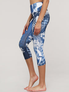 QB3016 Women's Print Capri Leggings with Hidden Pocket