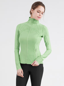 QJC3008 Women's Running Shirt Full Zip Workout Track Jacket with Thumb Holes
