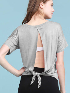 QT3009 Women's Sexy Open Back Yoga Shirts Tie Back Workout Clothes Racerback Tank Tops