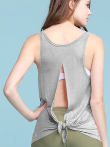 QT3011 Women's Loose Fit Backless Yoga Shirt Workout Tops Muscle Tank Flowy Racerback Gym Fitness Tank Tops Sleeveless Casual Cute Summer Tops