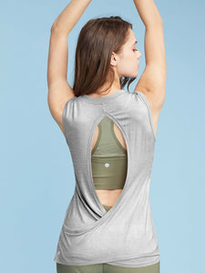 QT3012 Women's Sexy Open Back Yoga Tops Workout Clothes Muscle Shirts Sports Tank Tops
