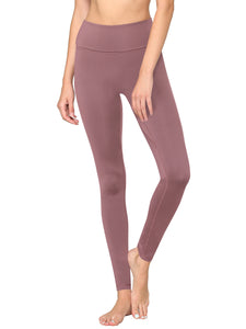 QB3020 WOMEN'S Active Queens Peached Seamless Front & Side Foldable Waisted Leggings with Inner Pocket Full-Length Yoga Pants