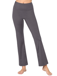 QB3021 Peached Seamless Front & Side Leggings with Inner Pocket Ankle Boot Cut Yoga Pants